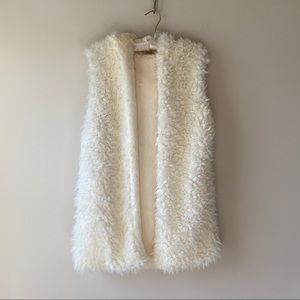 Hooded Faux Shearling Long Vest Cream Size Medium